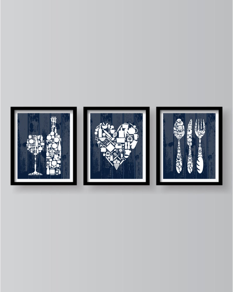 Blue Kitchen Wall Art Set Of 3 Prints Kitchen Decor Blue Etsy Blue Kitchen Walls Kitchen Wall Art Set Kitchen Wall Art