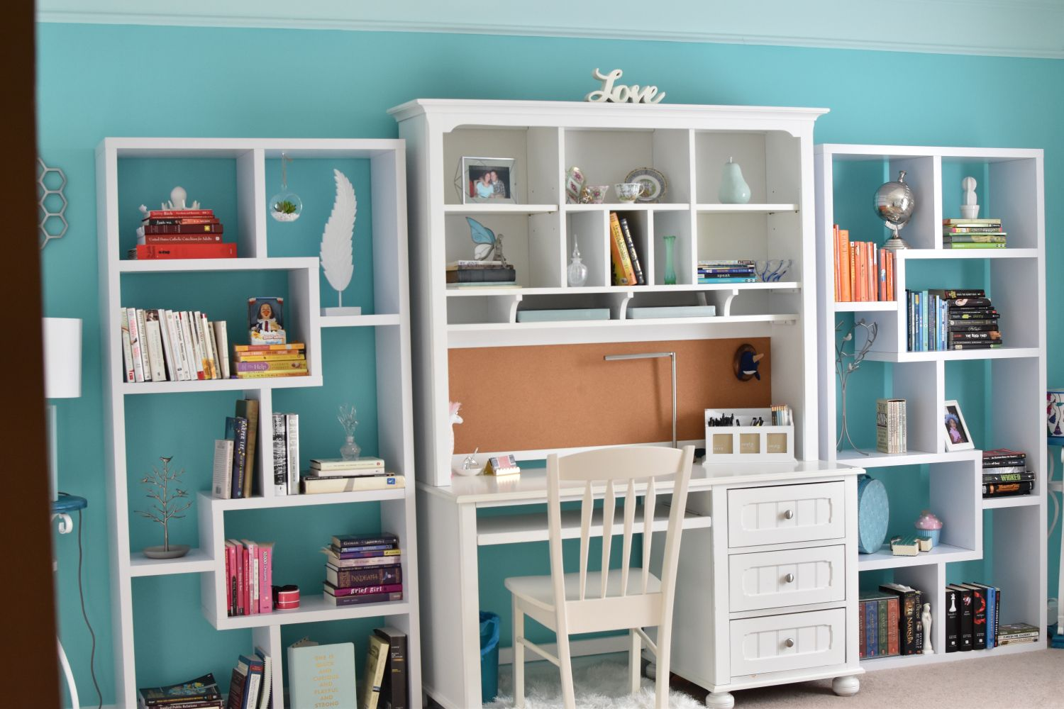 bookshelves and desk home office decor accent wall home on desk color ideas id=89296