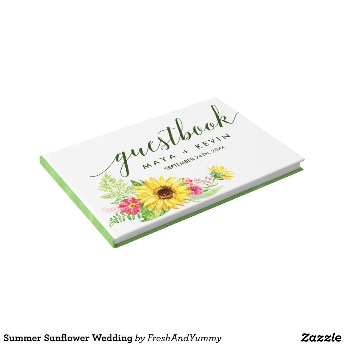Summer Sunflower Wedding Guest Book   Wedding Invitations  Favors
