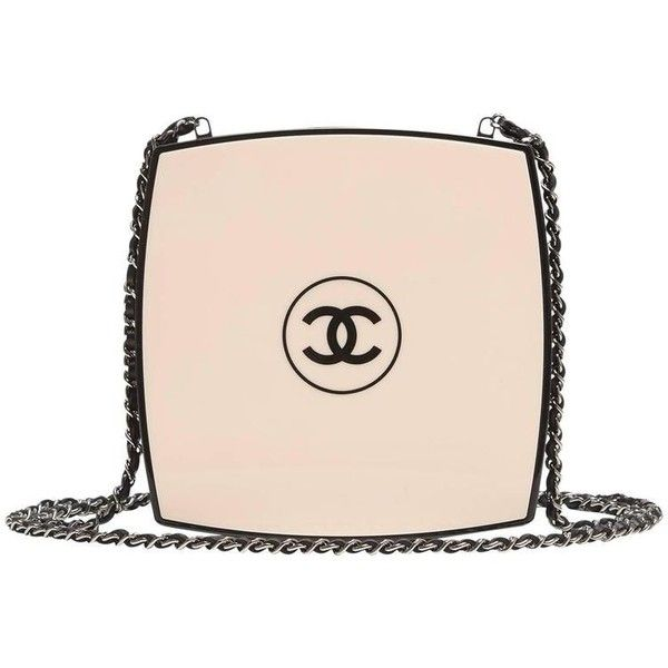 Preowned Chanel White Compact Powder Minaudiere (97.855 NOK) ❤ liked on Polyvore featuring bags, handbags, bolsas, white, preowned handbags, leather strap purse, genuine leather handbags, real leather purses and genuine leather purse