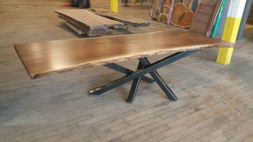Custom Made Walnut Table With Cross Over Base