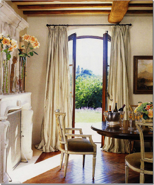 Cottage Chic Dining Room With French Doors Curtains Fireplace Ceiling Beams French Country Dining Room Decor French Country Dining Room Country Dining Rooms