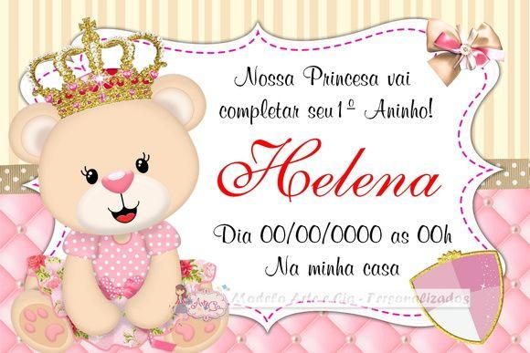 Convite Ursinha Princesa Artesanato E Faça Você Mesmo Princ