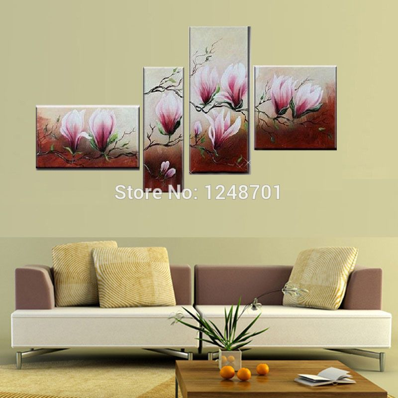 3 Piece Free Shipping Cheap abstract Modern Wall Painting purple ...