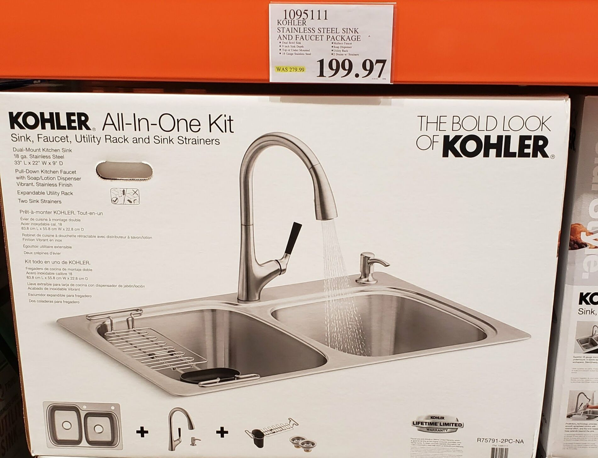 Kohler Stainless Steel Sink And Faucet Package 199 97 Costco Clearance Stainless Steel Sinks Sink Faucet