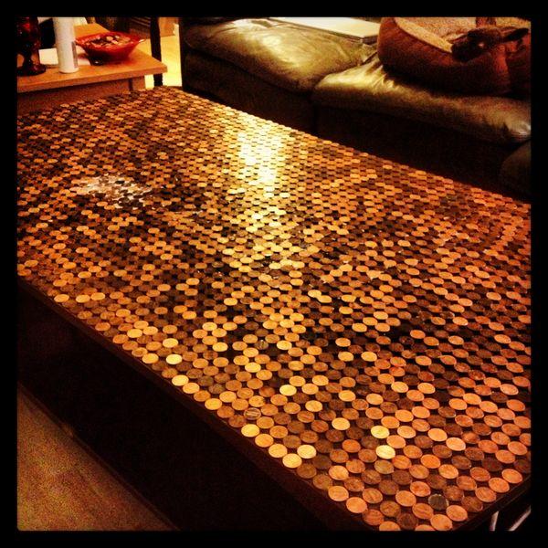 Tischplatte Aus Münzen Fürs Wohnzimmer Nie Mehr Kleingeld Suchen