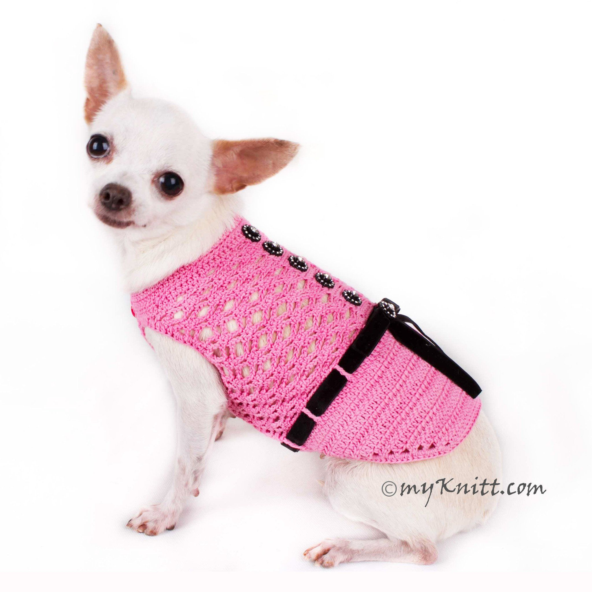 Beautiful Pink Dog Dress with Black Ribbon and Crystal Apparel DF84 ...