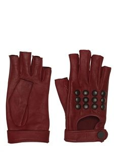 KARL LAGERFELD PARIS - STUDDED LEATHER FINGERLESS GLOVES - LUISAVIAROMA - LUXURY SHOPPING WORLDWIDE SHIPPING - FLORENCE