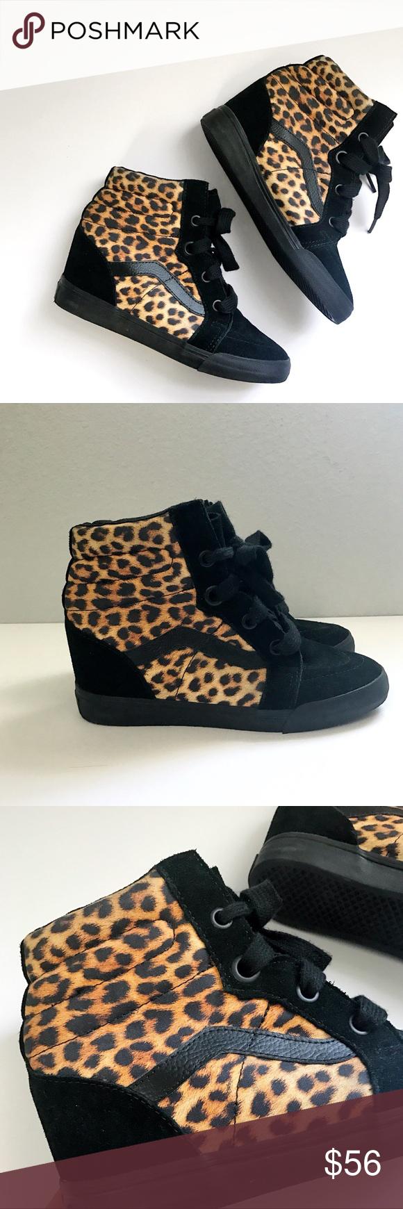 30a71f0b24 Vans Sk8-Hi Top Leopard Wedges Tag size 8 Women s