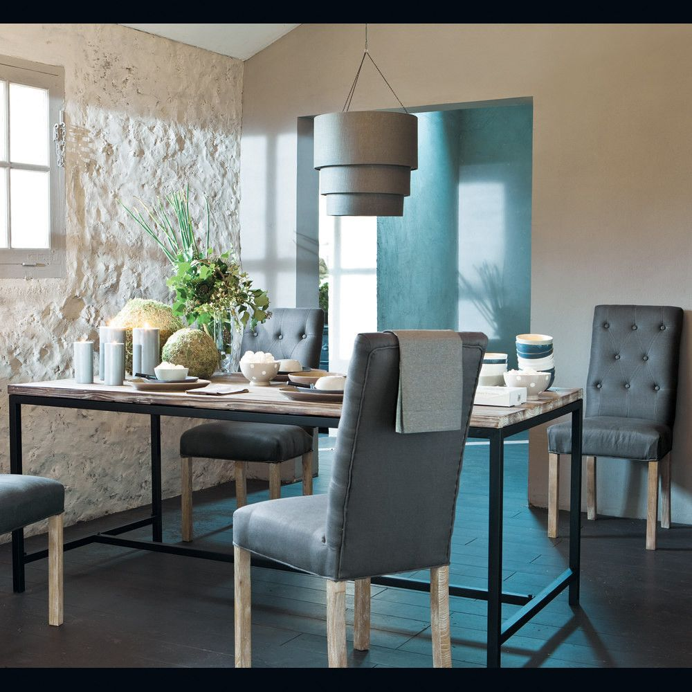 Solid Fir and Metal Industrial 8-Seater Dining Table W178 ...