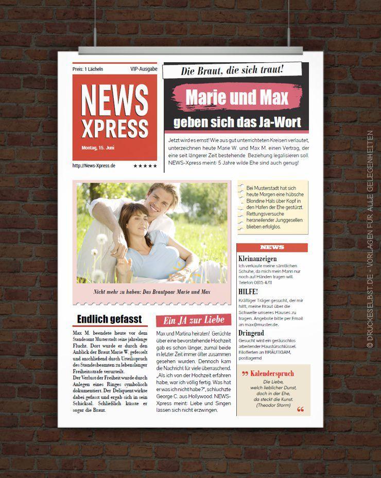 Druckeselbst Vorlage Hochzeitszeitung  Frank und Ilona  Hochzeitszeitung Hochzeitszeitung