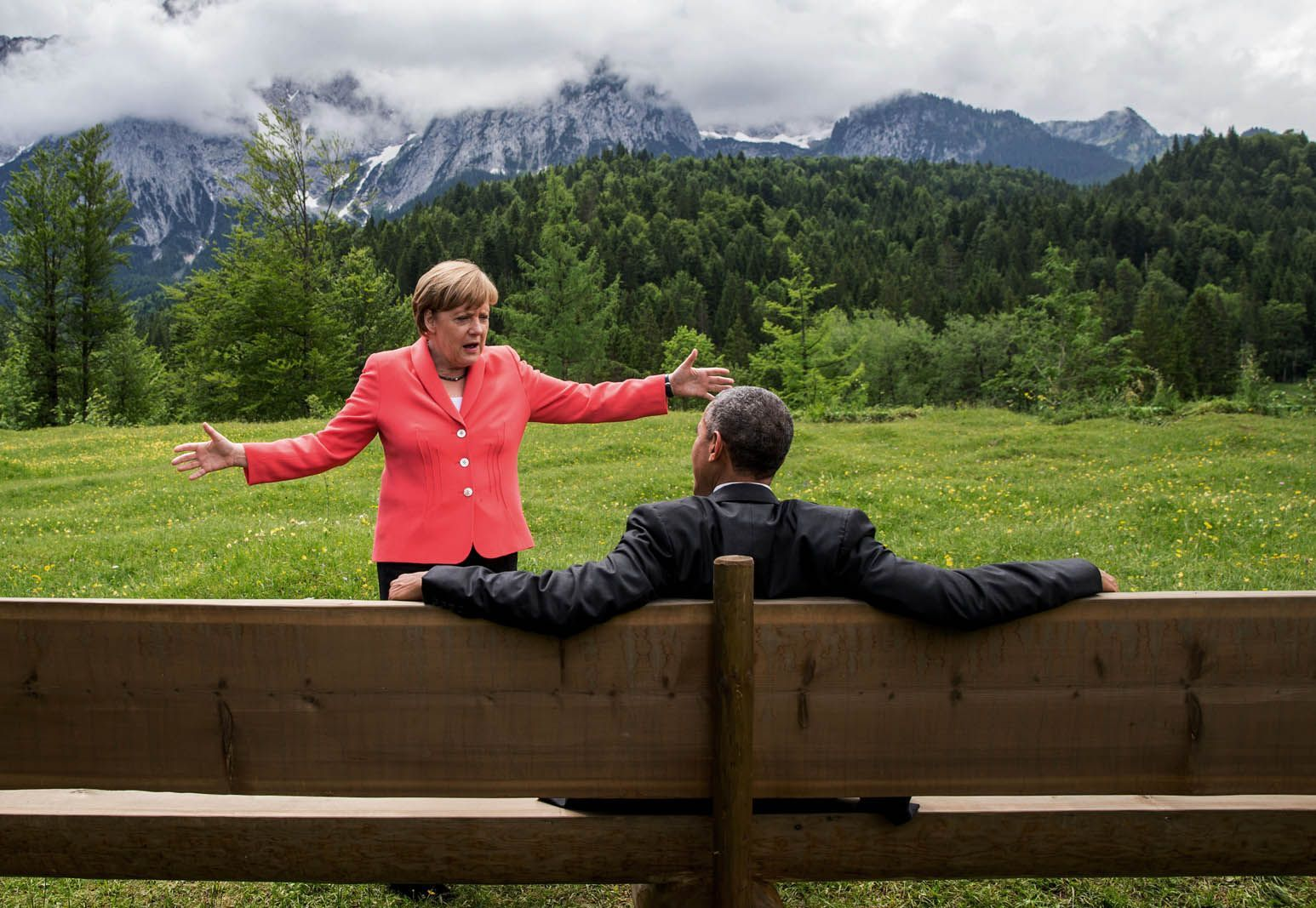 "Photos That Made The World Stand Still In 2015 #refinery29  http://www.refinery29.com/2015/12/99018/end-of-year-photo-slideshow-2015#slide-20  Angela Merkel speaks with Barack Obama during the G7 summit. Time named Merkel its ""Person of the Year"" for 2015, calling the German chancellor ""Europe's most powerful leader."" She is the first woman to win that distinction from the magazine in 30 years. ..."