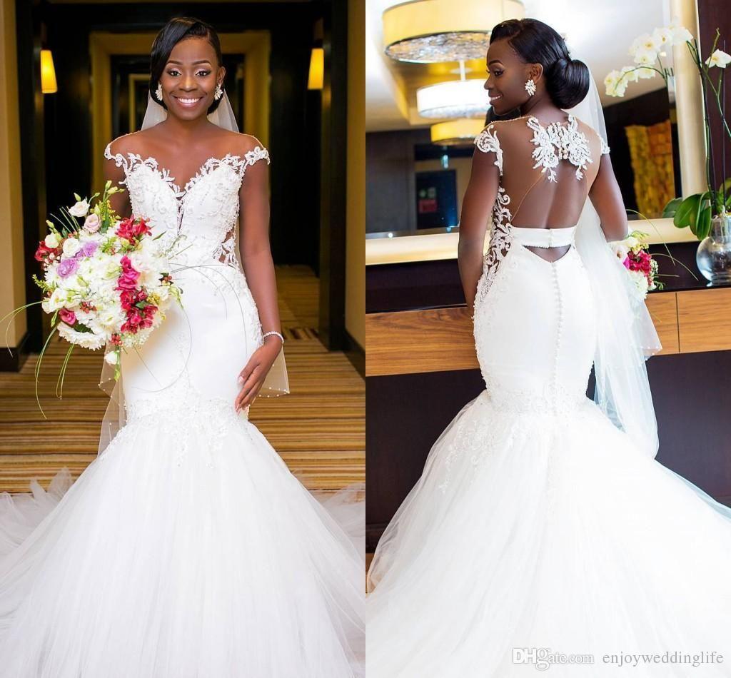 2018 Vintage White Mermaid Wedding Dresses African Ruffled Organza Long Sleeves Appliques Bridal Gowns Nigerian Vestido De Novia From Sanique 180 91 Dhgate Sheer Wedding Dress Bridal Gowns Mermaid Black Wedding Dresses [ 950 x 1024 Pixel ]