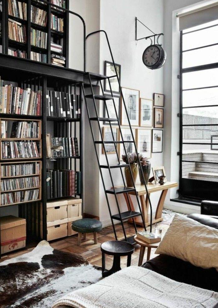 Wohnung Dekorieren Kleine Bibliothek Wohnzimmer Fellteppich