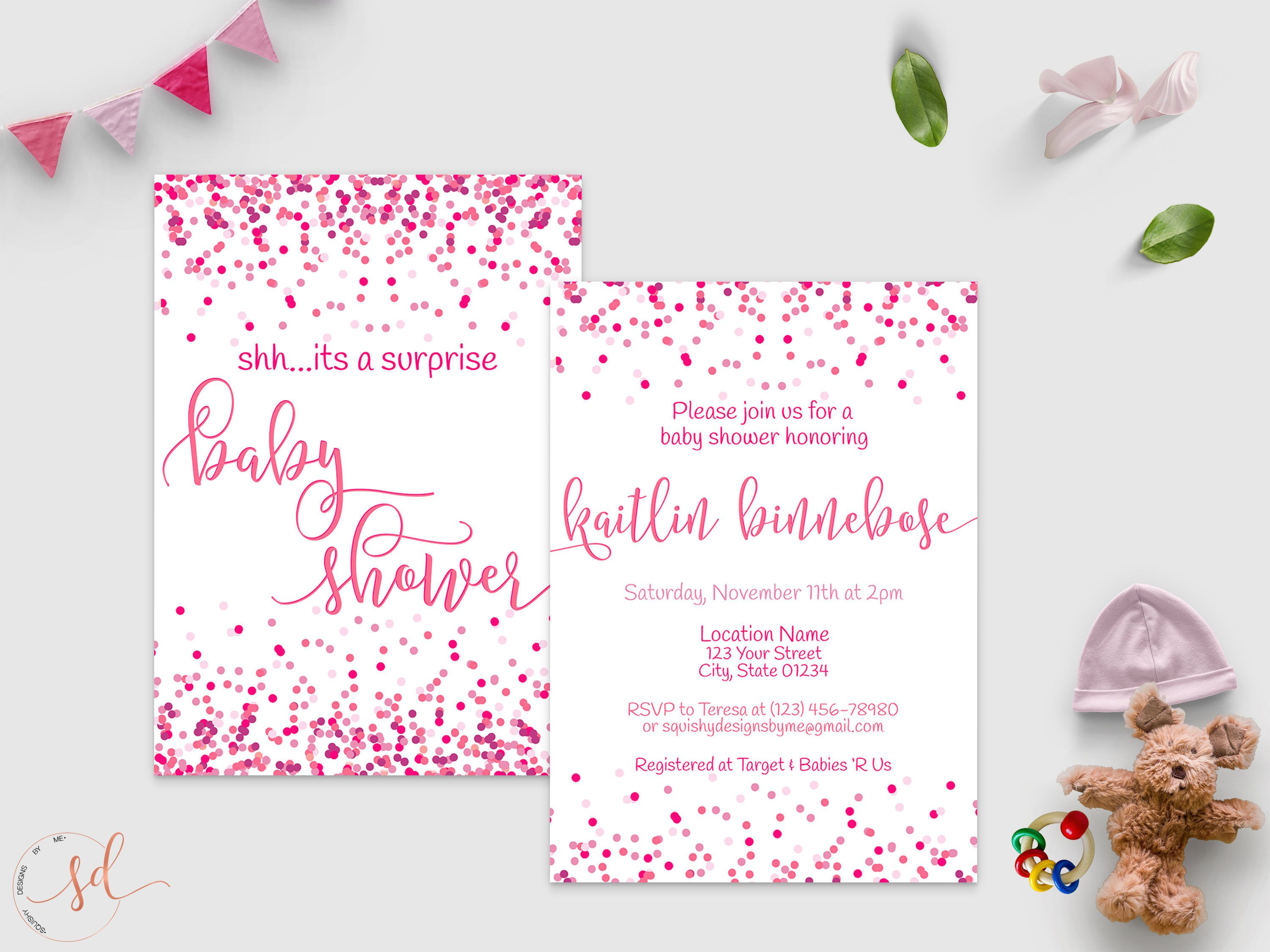 Surprise Baby Shower Invitation, Baby Girl, Baby Sprinkle, Confetti ...