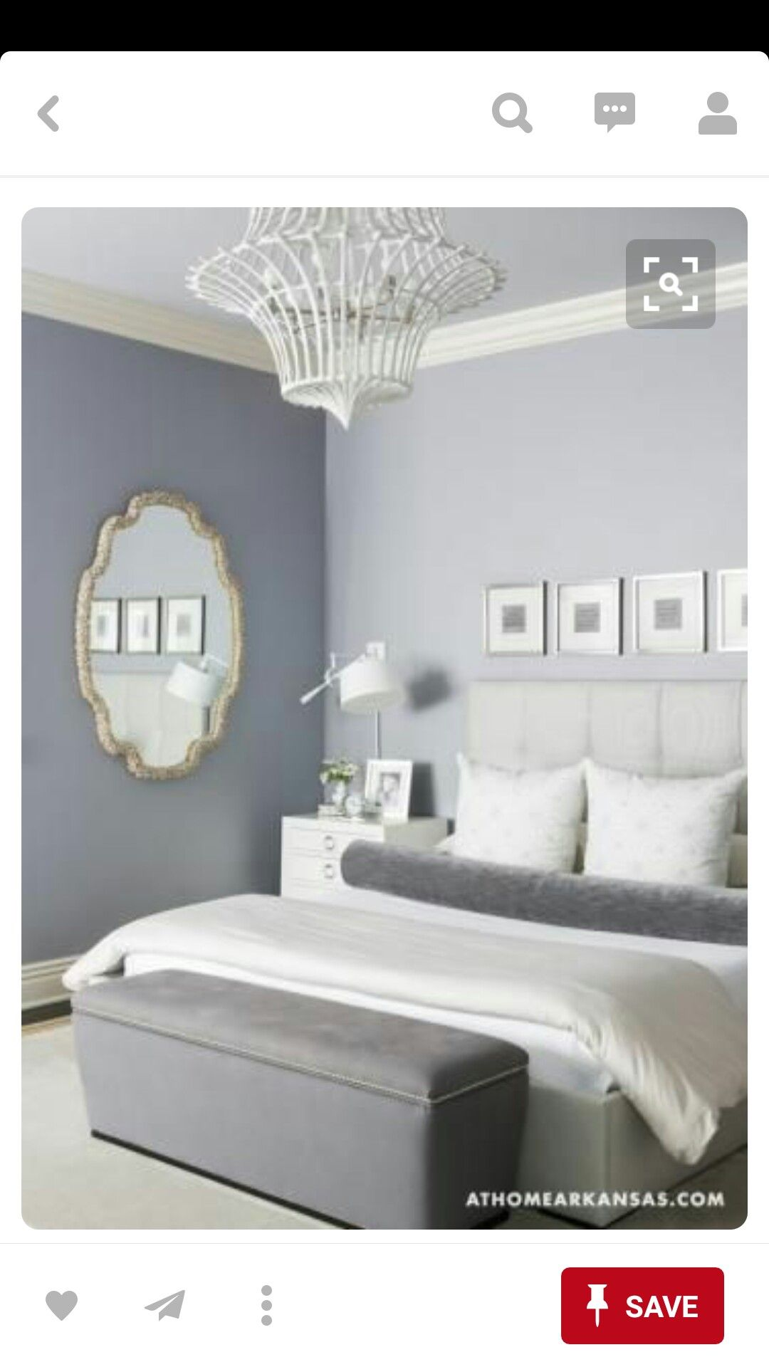 Master Bedroom With Blues And Whites And A Beautiful Gray