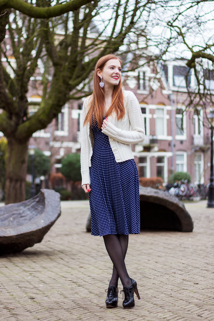 7609fd0a88 Polka dot dress outfit fashion blogger red hair amsterdam knit cardigan