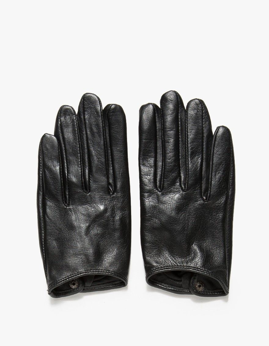 Black leather gloves buttons - A Pair Of Elegant Soft Mid Weight Soft Leather Gloves In Black With Tailored Cut Features Individual Fingers Snap Button Cuff Gusseted Thumb And Soft