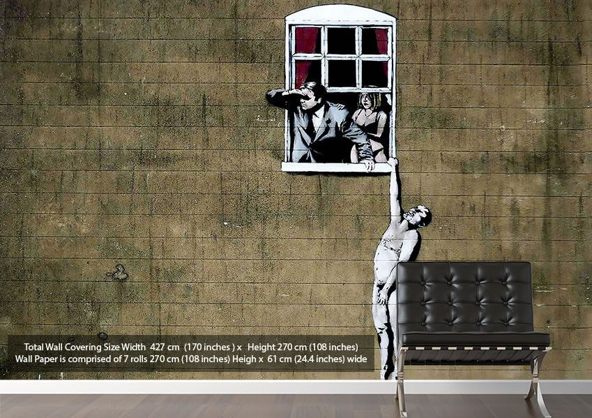 Window lover cheaters banksy wallpaper murals numerous for Banksy mural wallpaper