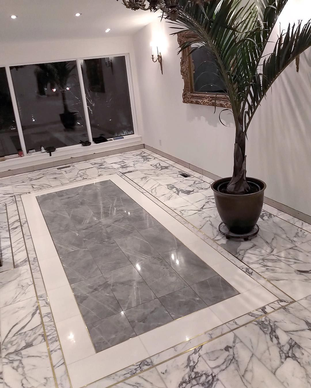 Here S A Great Design In Our Brass Inlay Marble Tiles With White Thassos Marble Border And Blue De Savoie Marble Marble Inlay Designs Marble Inlay Marble Tiles