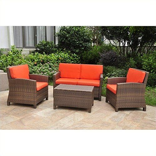 Special Offers International Caravan Valencia All Weather Wicker Outdoor Patio Settee Co Conversation Set Patio Patio Furniture Fabric Outdoor Furniture Sets