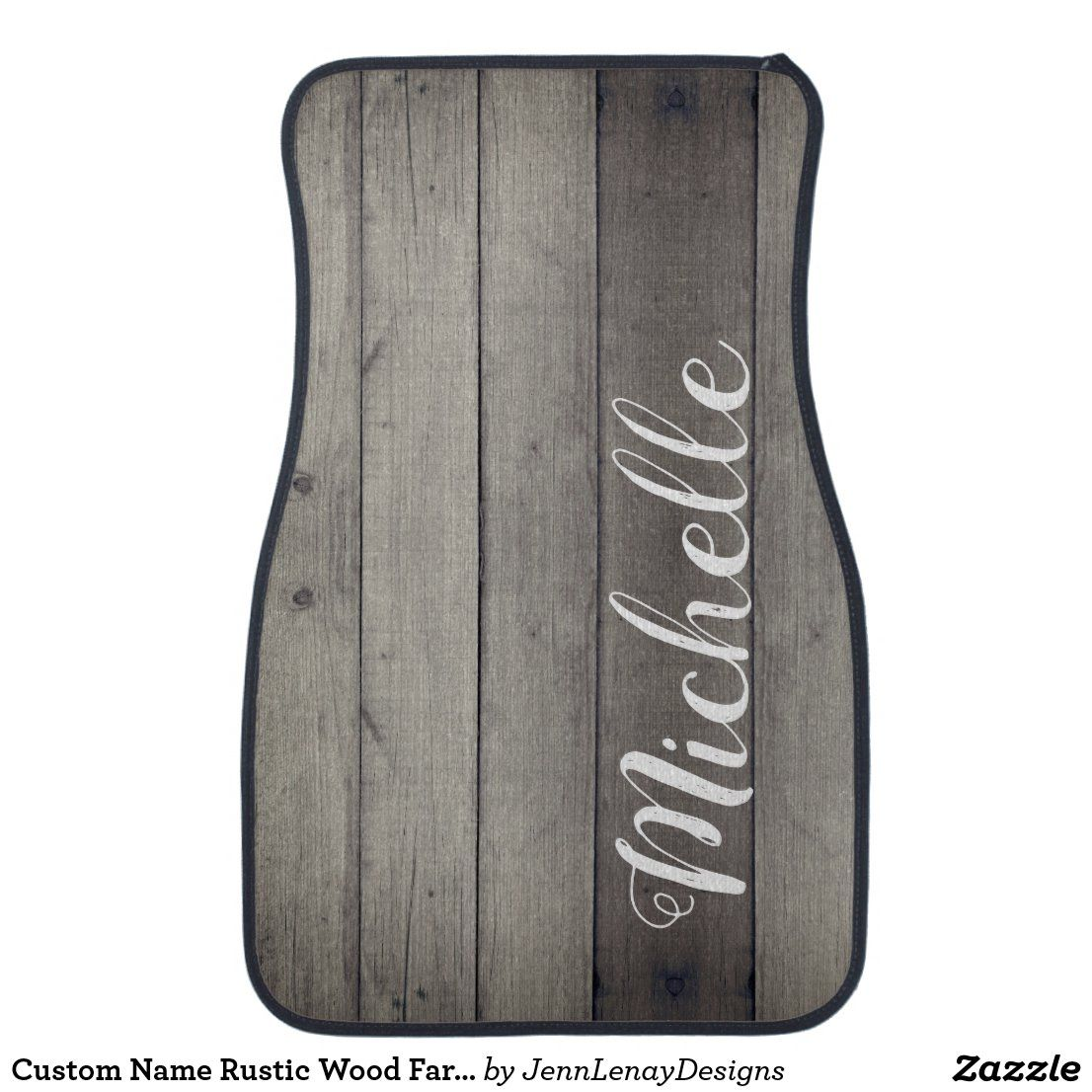Custom Name Rustic Wood Farmhouse Chic Car Floor Mat