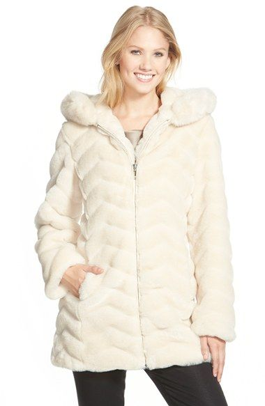 Gallery Hooded Chevron Faux Fur Coat (Regular & Petite) available ...