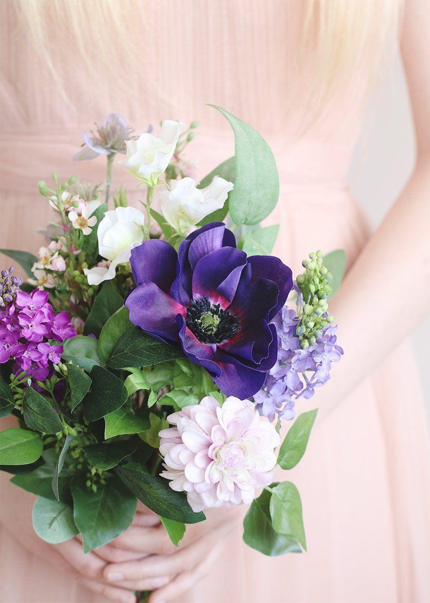 Purple Anemone And Dahlia Artificial Flower Bouquet Spring Wedding Bouquets Silk Wedding Bouquets Wedding Bouquets