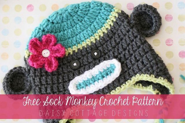 Sock Monkey Hat Crochet Pattern | Mütze, Gehäkelte mützen und ...