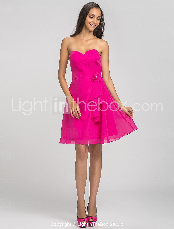 Corte en A Escote Corazón Corta / Mini Raso Vestido de Dama de Honor ...