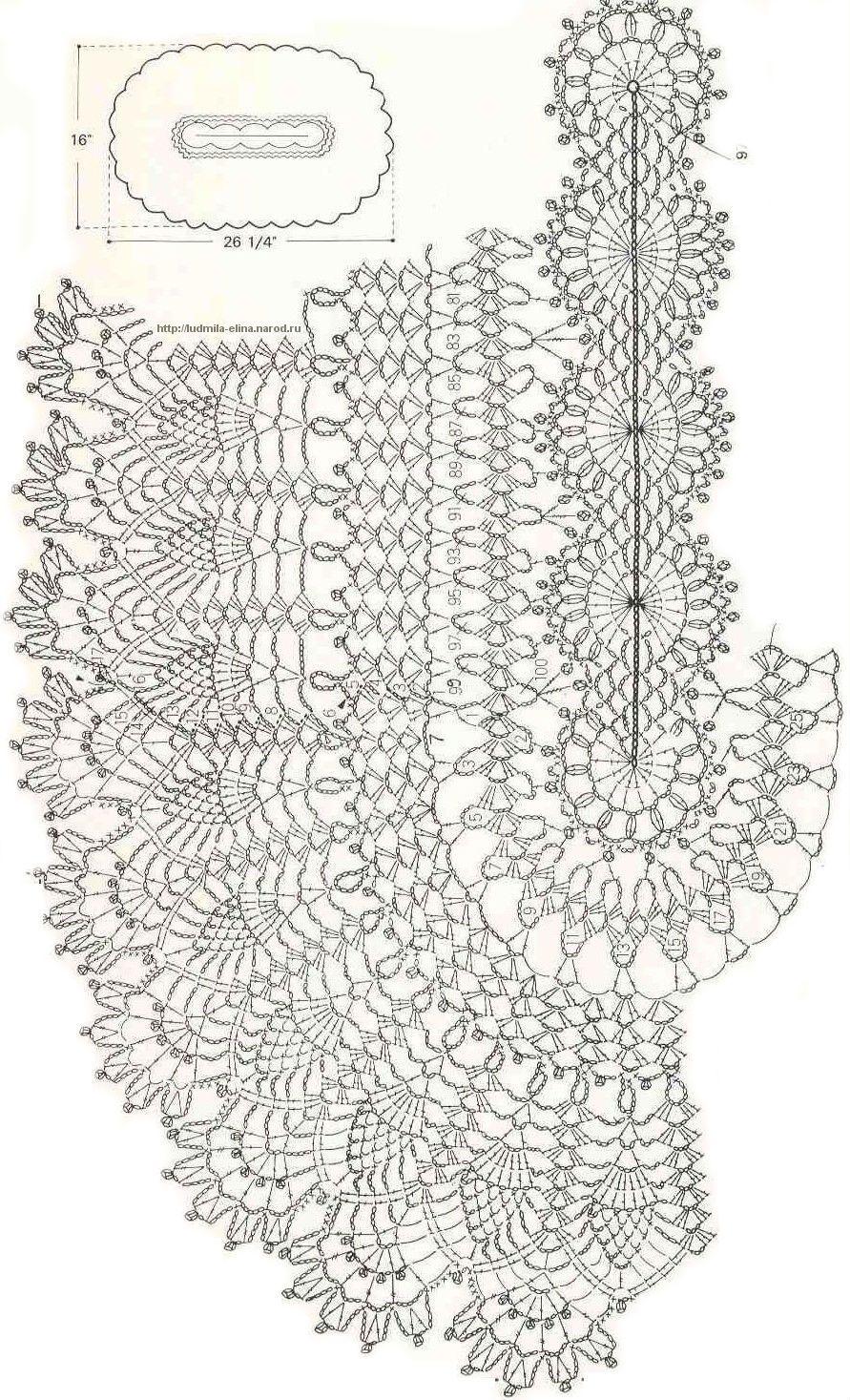 Овальная салфетка вязанная крючком схема фото 579