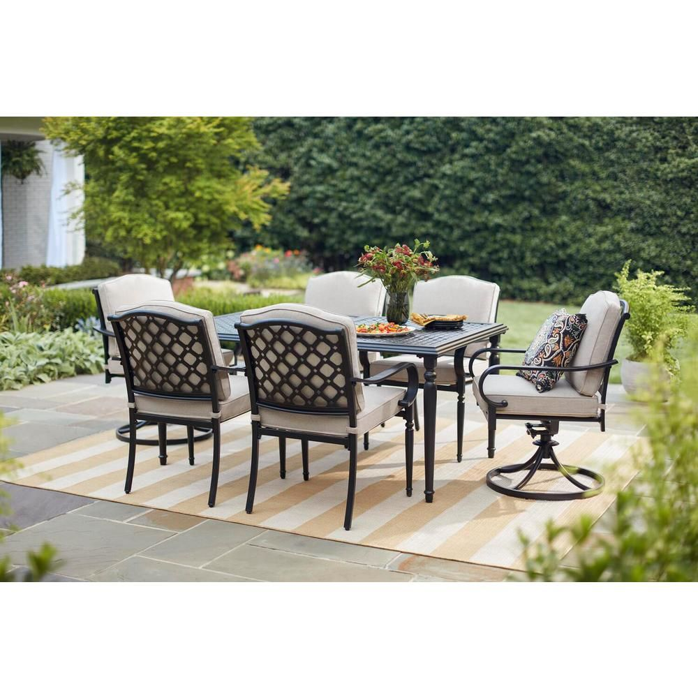 Hampton Bay Laurel Oaks 7 Piece Brown Steel Outdoor Patio Dining Set With Standard Putty Tan Cushions 525 0200 000 The Home Depot Patio Dining Furniture Outdoor Furniture Patio Dining Set