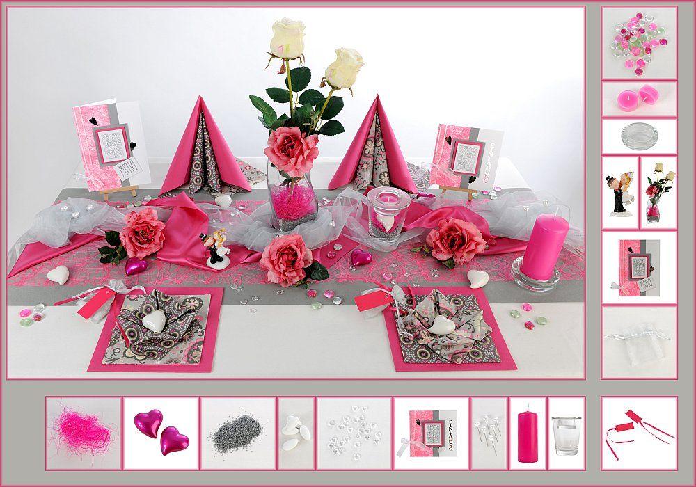 tischdeko hochzeit 15 in pink silber als mustertisch. Black Bedroom Furniture Sets. Home Design Ideas