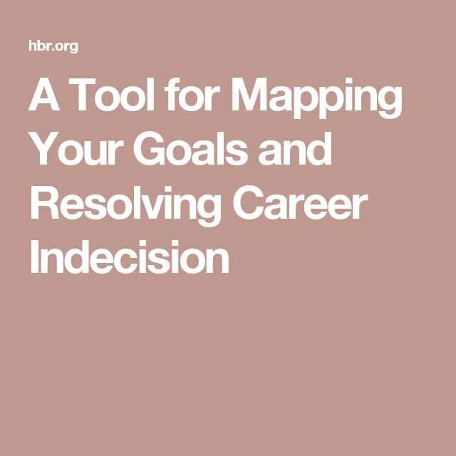 A Tool for Mapping Your Goals and Resolving Career Indecision