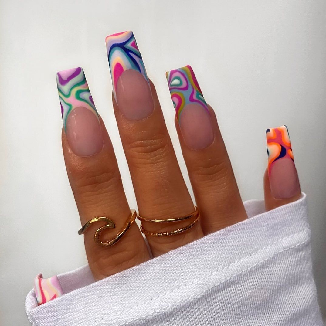 """Nail Porn on Instagram: """"🌈🍭☮️ Groovy Baby ☮️🍭🌈 . ."""