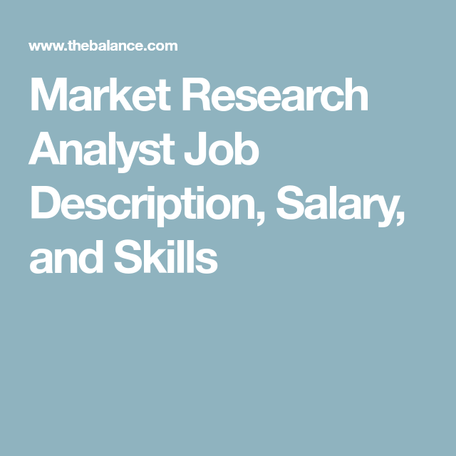 Market Research Analyst Job Description, Salary, and Skills | Job ...