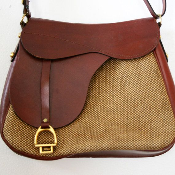 We Love This Leather And Tweed Equestrian Style Saddle Bag Purse