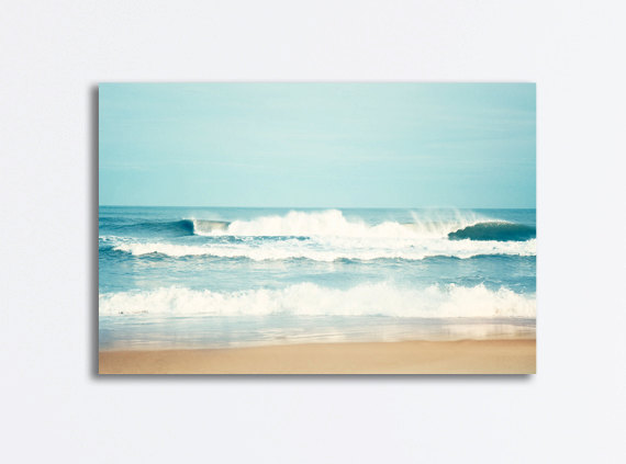 Large Ocean Canvas Seascape Wall Art Sea Blue Waves Beach Etsy In 2020 Seascape Wall Art Ocean Canvas Beach Canvas