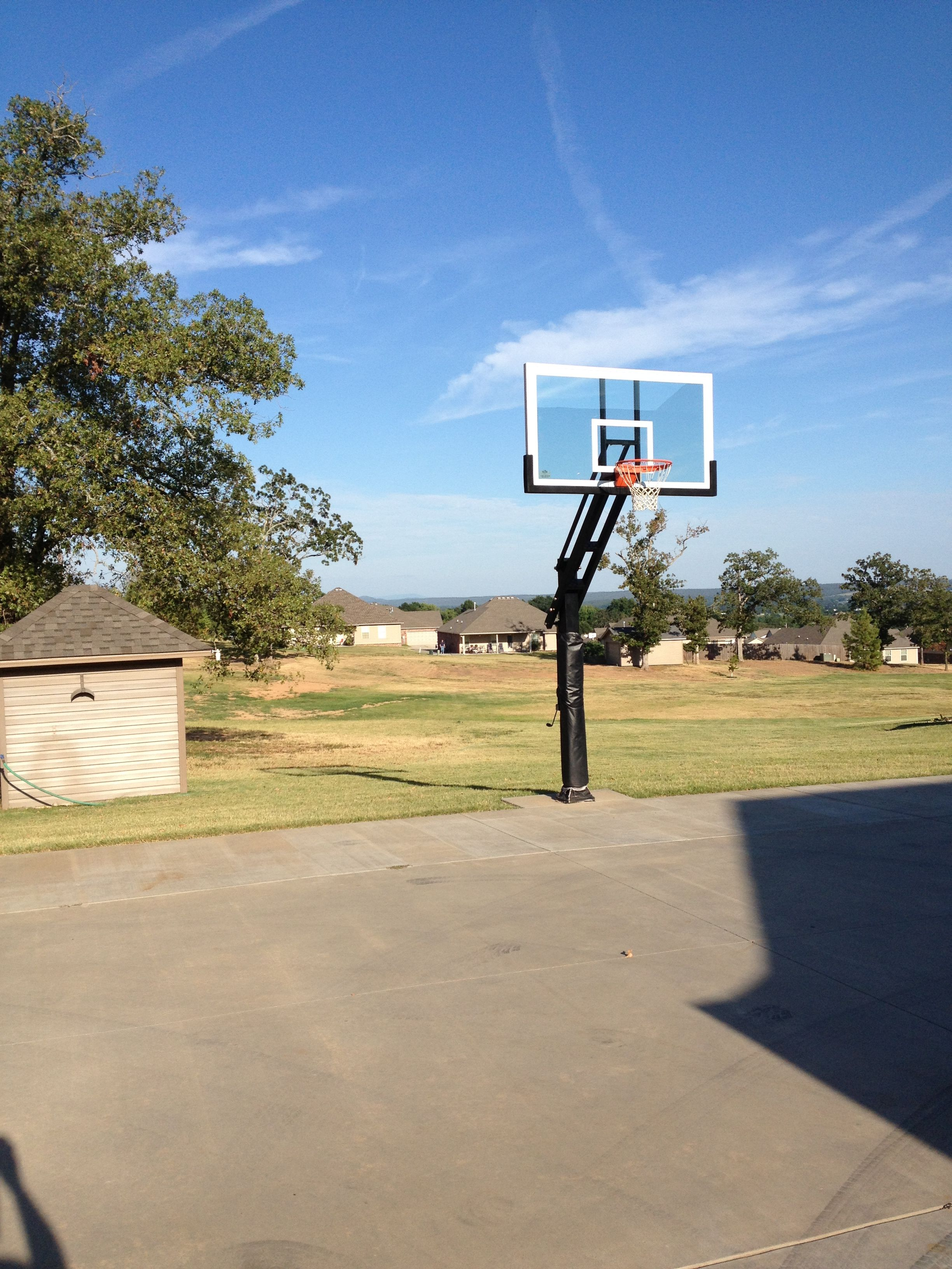 Pro Dunk Platinum Basketball System and gorgeous blue sky.