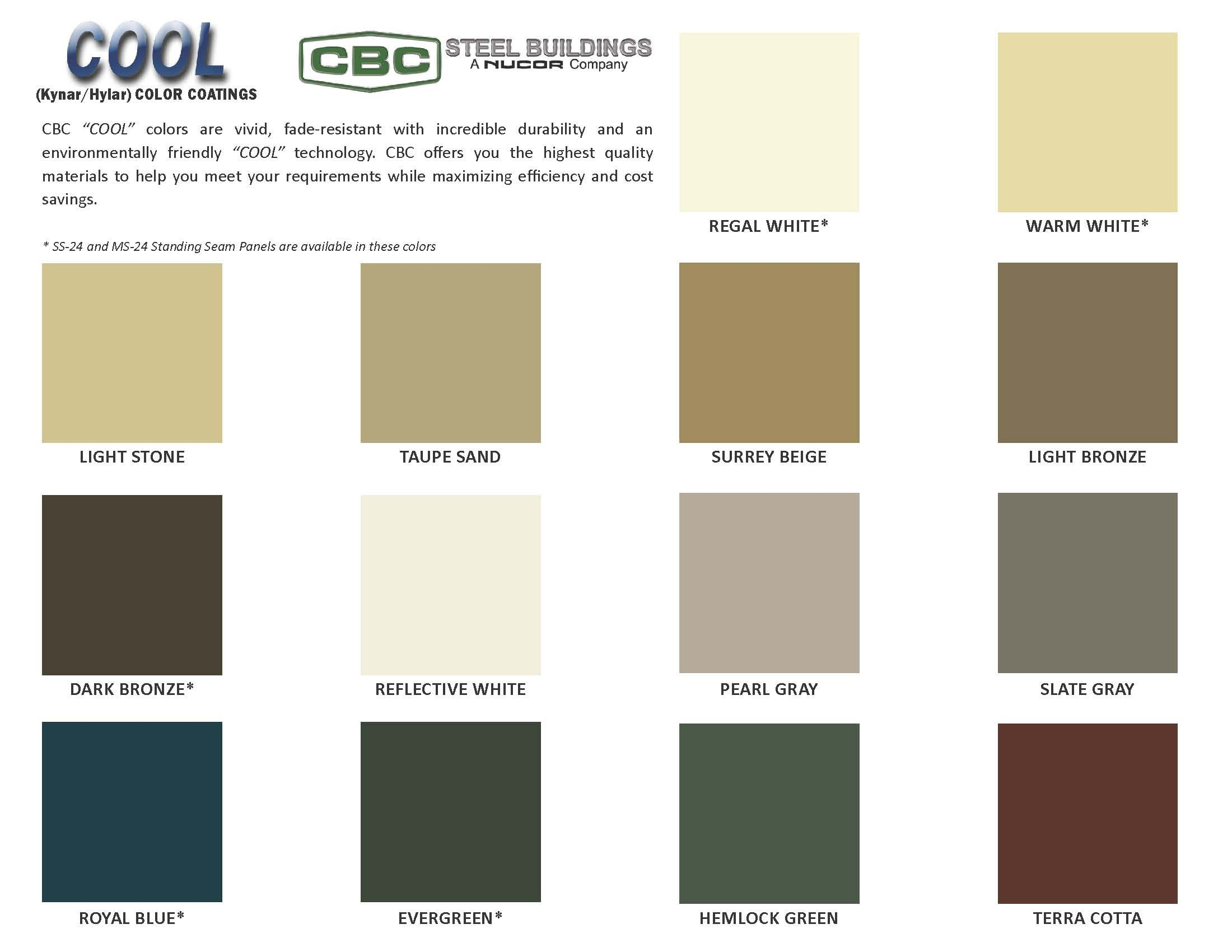 Metal Building Color Chart Metal Roof Colors Standing Seam Metal Roof Metal Buildings