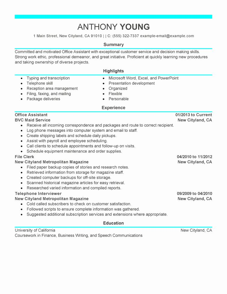 Office assistant Job Description Resume Best Of Free