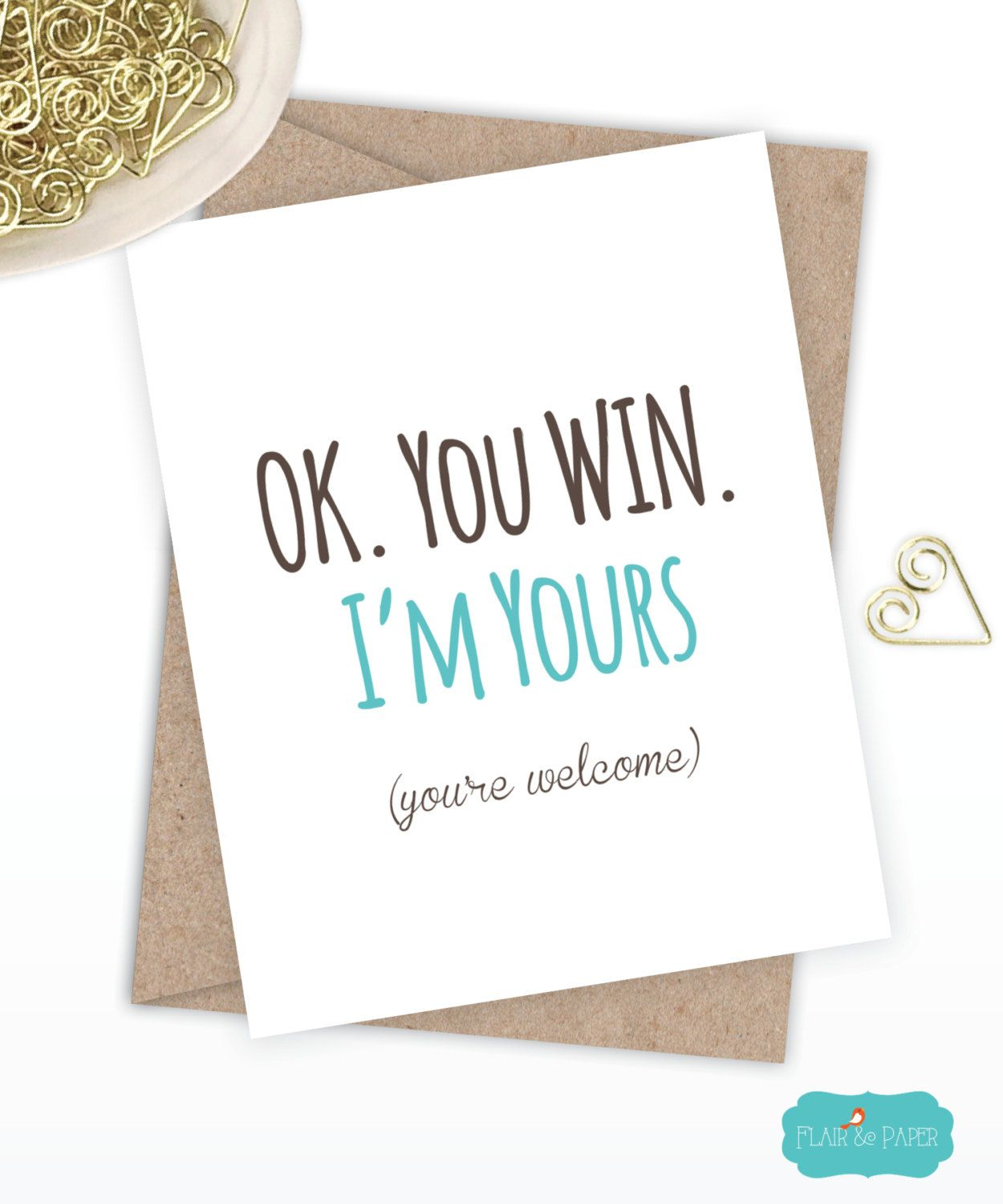 Birthday Card Boyfriend Funny I Love You Quirky Snarky Greeting Just For Fun Ok Win Im Yours By FlairandPaper On Etsy