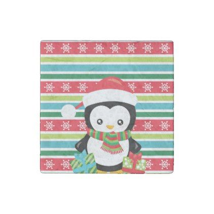 Gift Penguin on striped snowflake background Stone Magnet - penguin template
