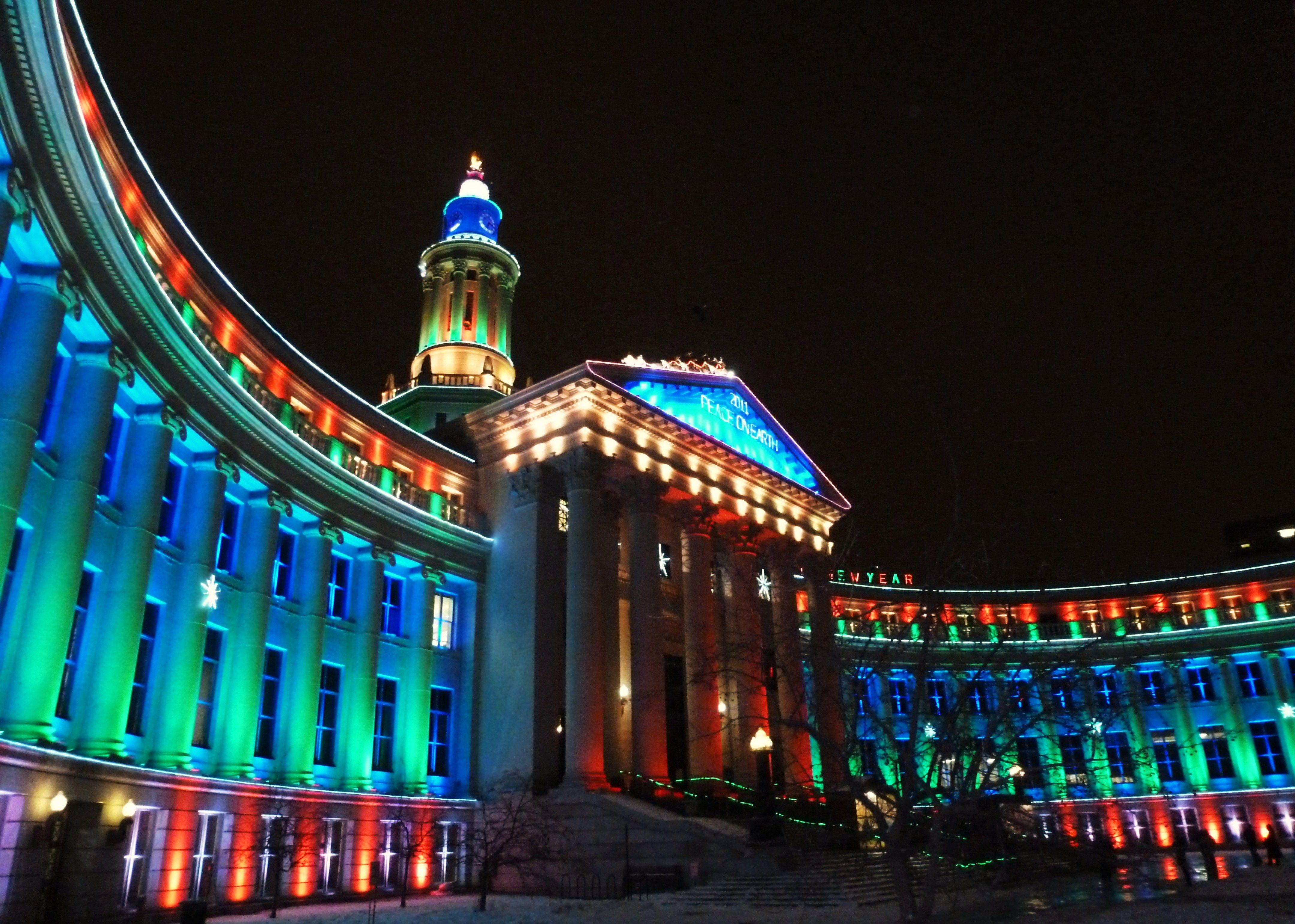 Denver City Building Holiday Lights