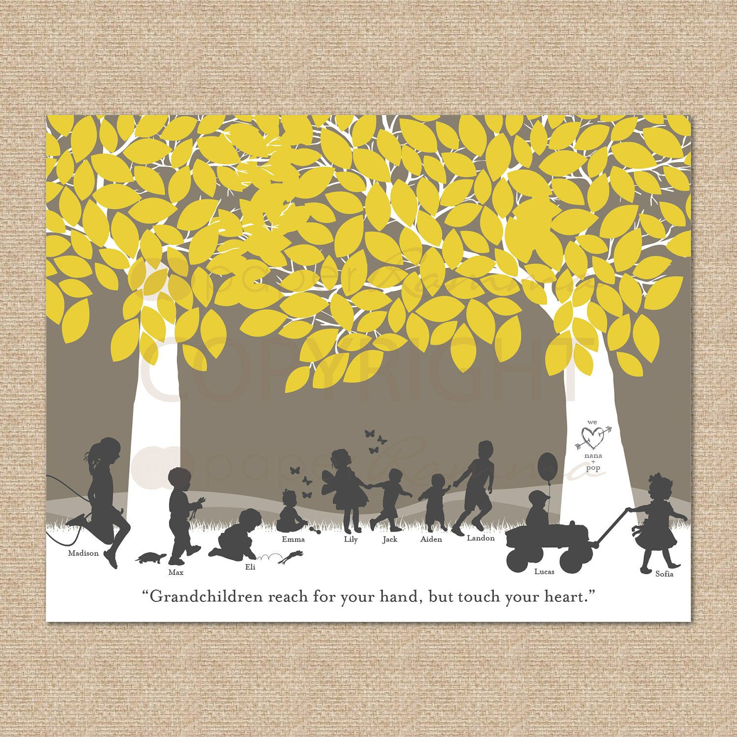 Grandparent Silhouette Art Gift, Grandchildren Art Print Personalize With Grandkids