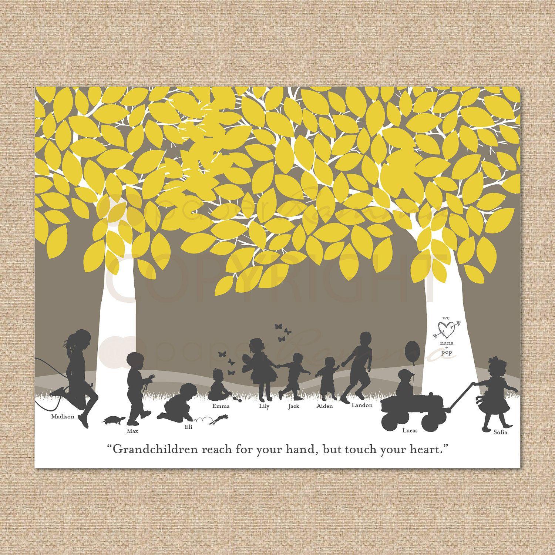 Silhouette Art / Christmas Gift for Grandparents / Grandchildren ...