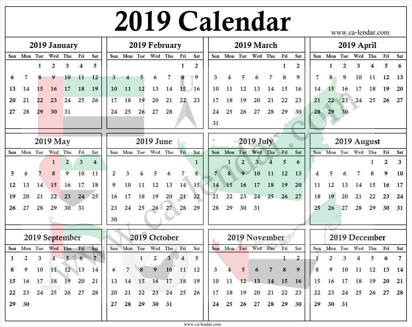 Uae Calendar 2019 With Holidays 2019 Calendar Template Pinterest