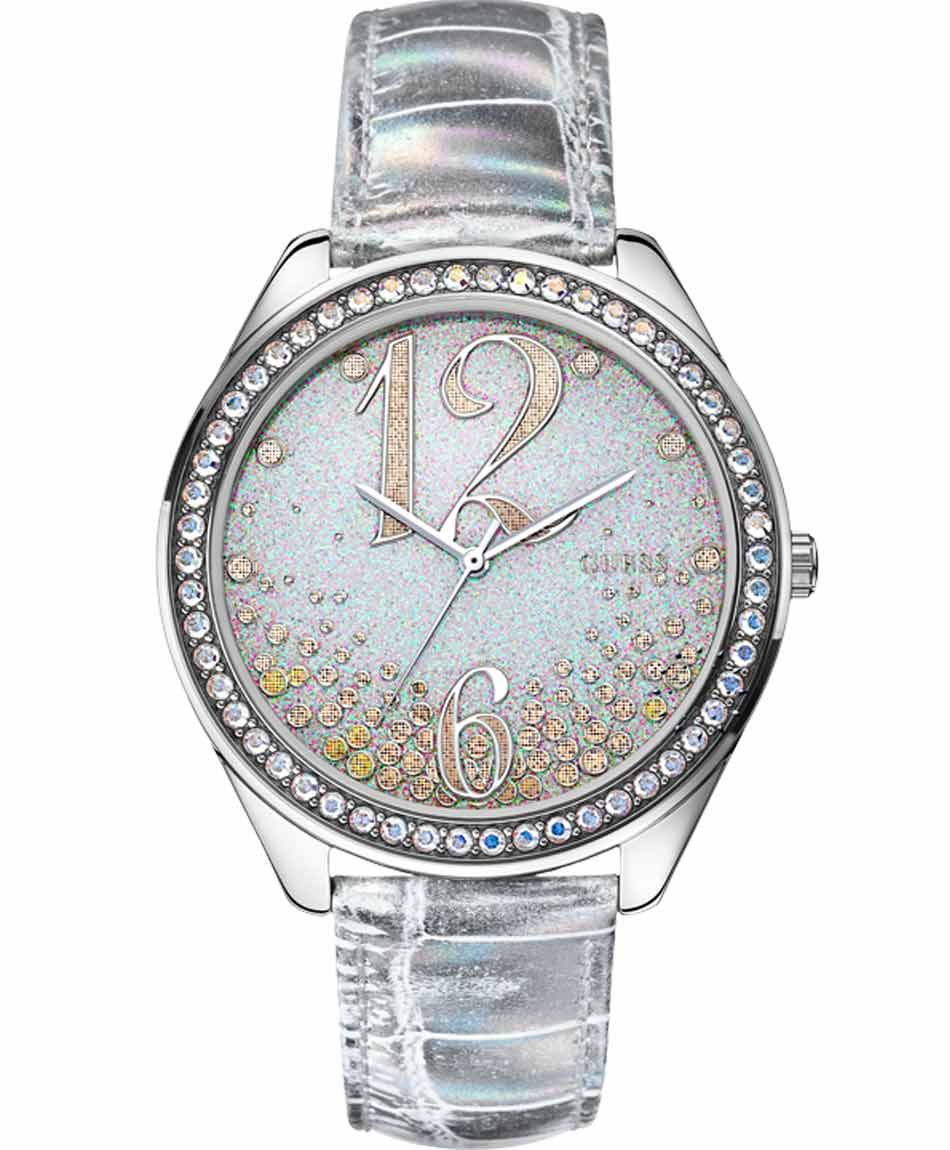 GUESS Silver Leather Strap Crystal Ladies Μοντέλο: W0337L1 Η τιμή μας: 126€ http://www.oroloi.gr/product_info.php?products_id=39894