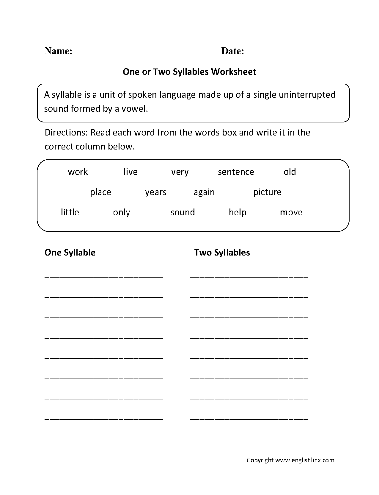 worksheet Multi Syllable Words Worksheets one or two syllables worksheets englishlinx com board pinterest this worksheet directs the student to identify words from word bank must re