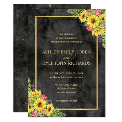 Sunflower Wedding Invitation With Dark Background Invitations Diy Cyo Special Idea Personalize Card